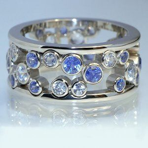 NEW Blue White Round Diamond Hollow Wide Band Ring